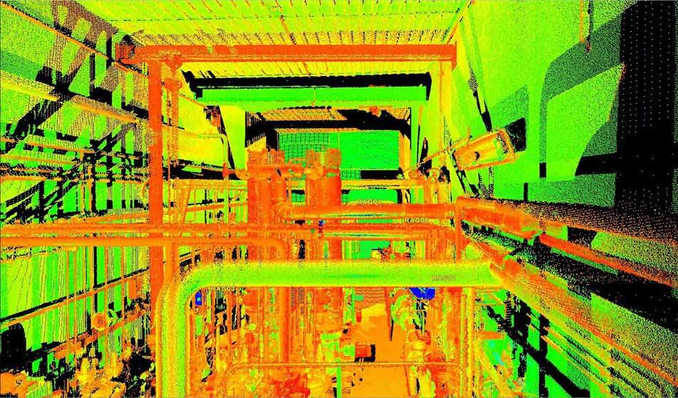 A 3D point cloud (false color) by Bogensberger Vermessung / Surveys of the industrial plant RAG Gampern II in Schwarzmoos.