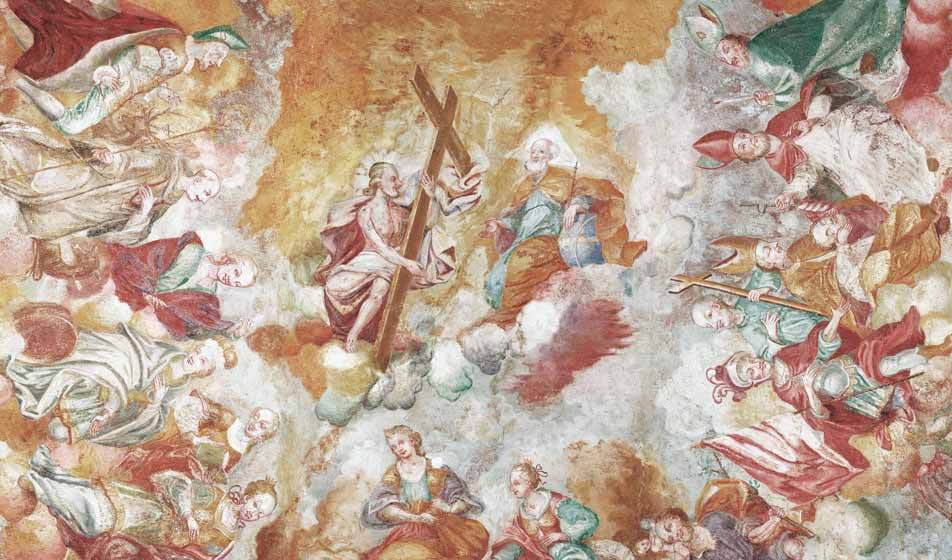 A photogrammetry of the baroque fresco in the Ägydius chapel by Bogensberger Vermessung / Surveys.
