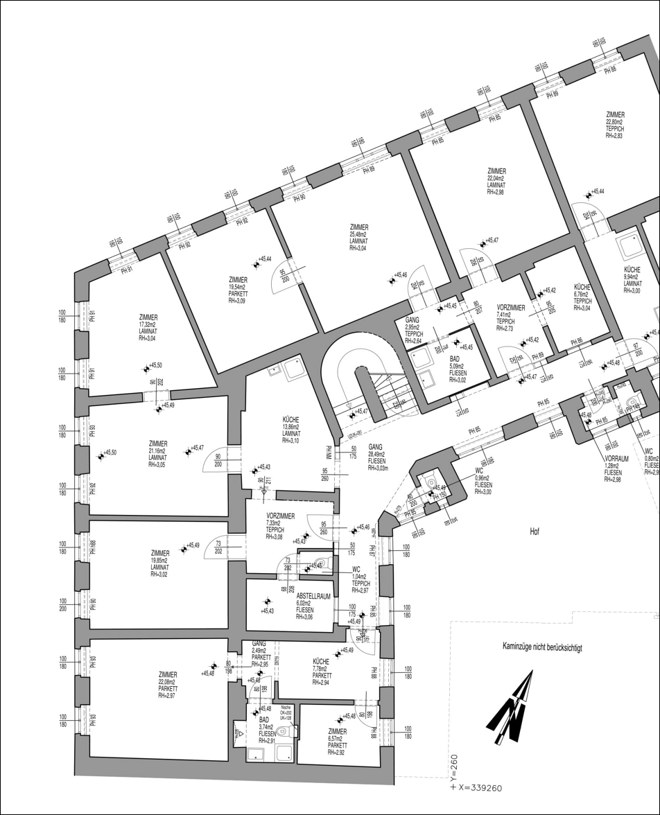 Floor plan of Dingelstedtgasse. A project by Bogensberger Vermessung.