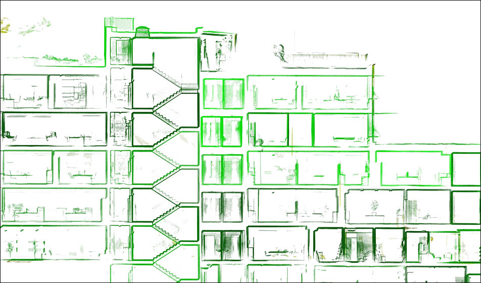 Section of a 3D pointcloud (ISS headquarter​) from Bogensberger Vermessung / Surveys.