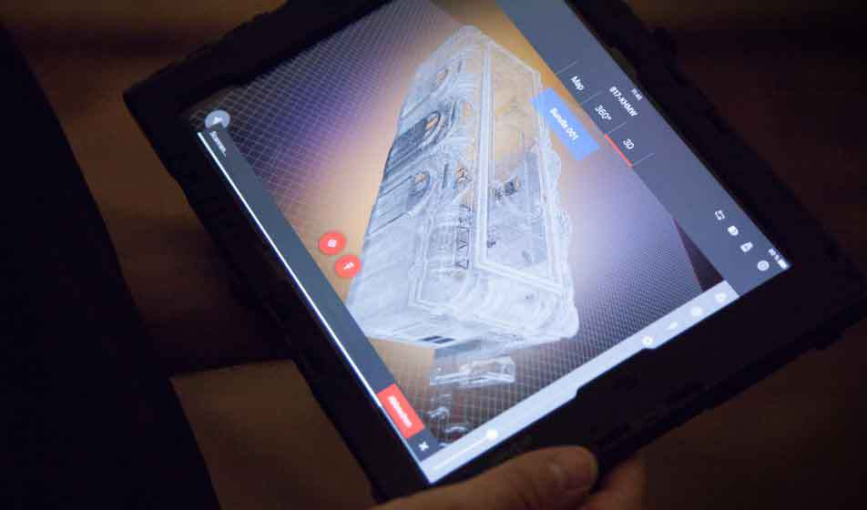 A tablet from Bogensberger Surveys that shows the 3D pointcloud of the room XIX of the KHM museum.