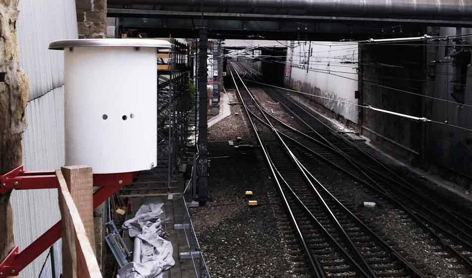 The DiMoSy geomonitoring system by Bogensberger Vermessung / Surveys monitoring the railway tracks and abutments underneath the Beatrix bridge.