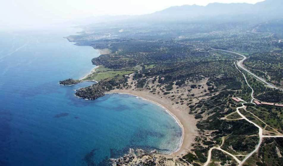 Aerial image of the coastline in Karpaz by a drone from Bogensberger Vermessung / Surveys.