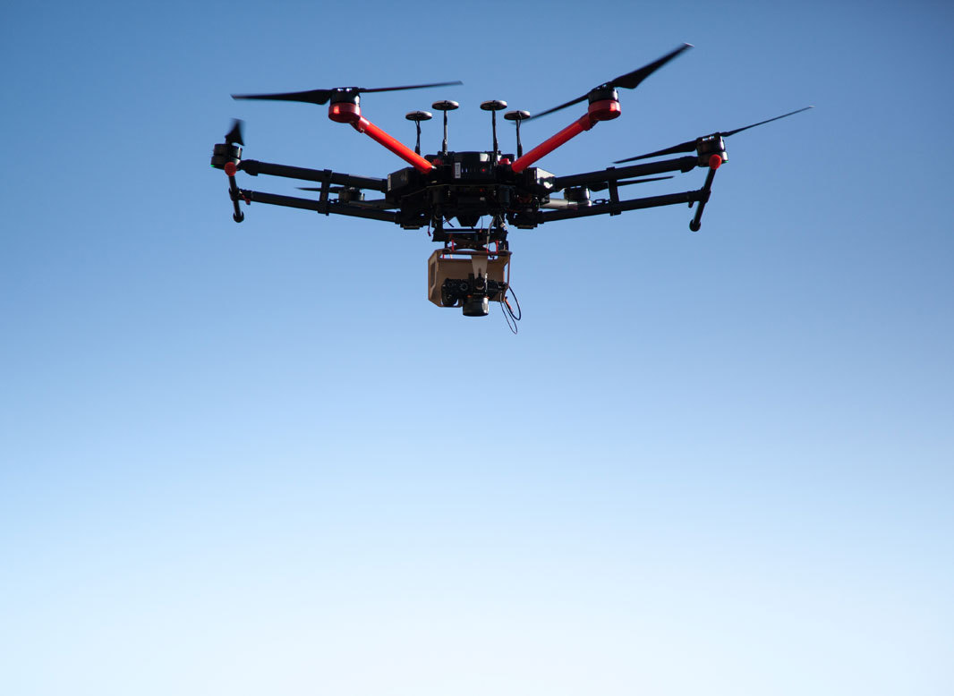Picture of a drone flying over the ruins of Gars Am Kamp.